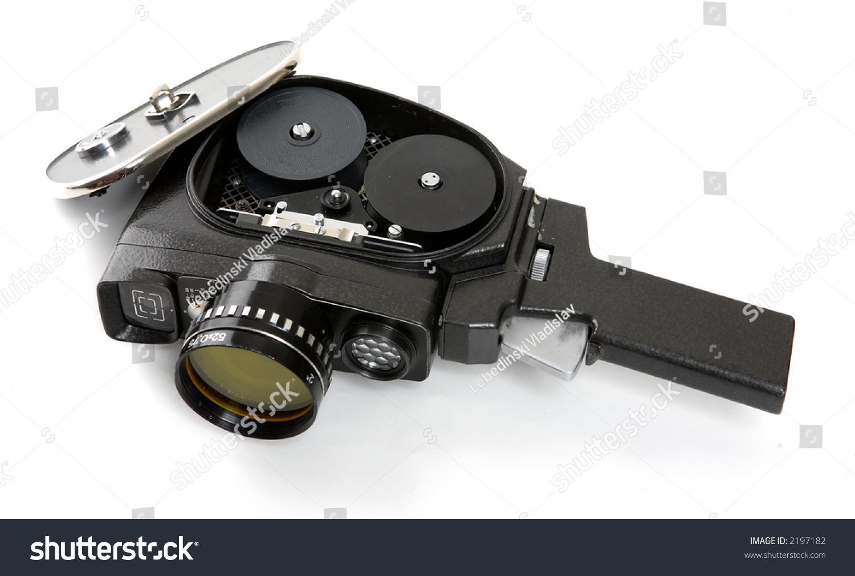 老电影摄影机孤立在白色背景-复古风格,物体-海洛创意